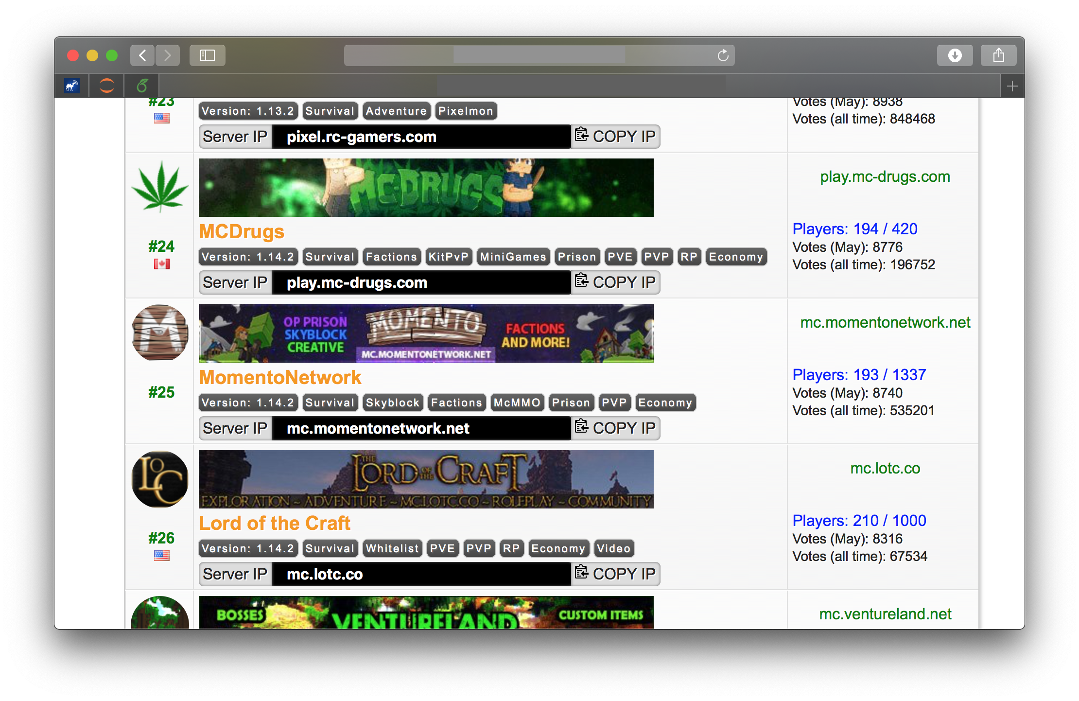 An example of a Minecraft Top Server that is not very readable